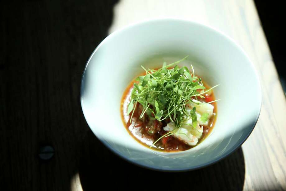The Shrimp Gazpacho from the menu of a'Bouzy, a new fine dining restaurant withe a 1,000 bottle wine list that includes about 250 champagne selections. Photo: Yi-Chin Lee, Houston Chronicle / © 2017  Houston Chronicle