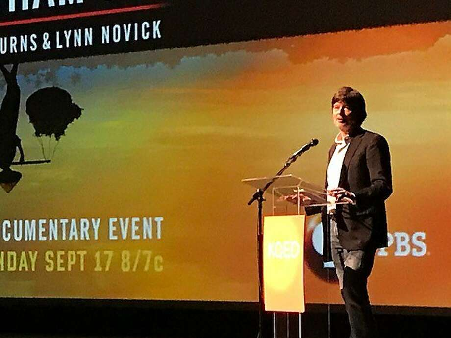 "Ken Burns, maker of ""The Vietnam War,"" at the Palace of Fine Arts. Photo: Leah Garchik, San Francisco Chronicle"