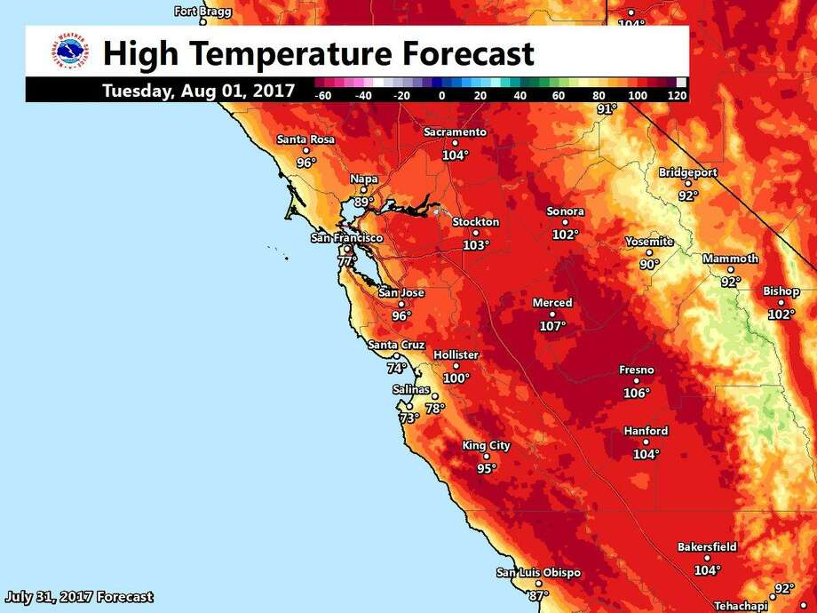 Temperatures will climb in inland areas Tuesday, forecasters say. Photo: National Weather Service