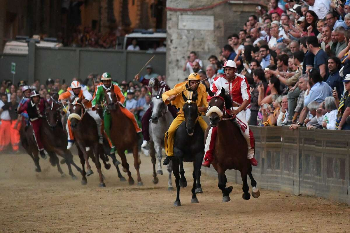 Riders compete in the historical Italian horse race