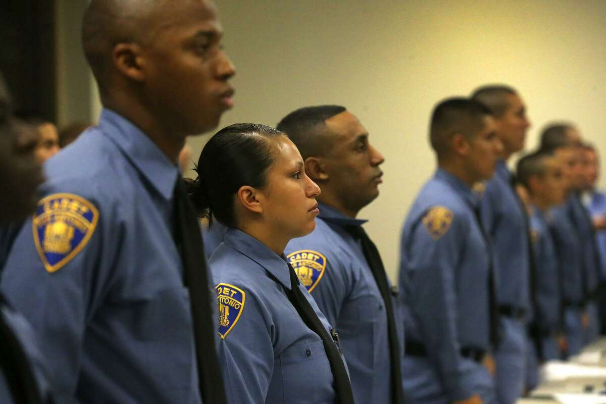 The San Antonio Police Department's 2017C Cadet Class stands at attention July 31 during a welcoming ceremony at the San Antono Police Training Academy. A cadet class that began recently consists of more than 50 percent minorities and nearly 20 percent women and is the second of five classes planned for this year.