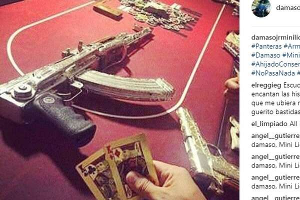 "The alleged Instagram account of Damaso Lopez Serrano is filled with gold plated guns, exotic pets and drugs. Lopez is the son of Damaso Lopez Nunez, a close deputy of Joaquin ""El Chapo"" Guzman.  Image source:  Instagram"