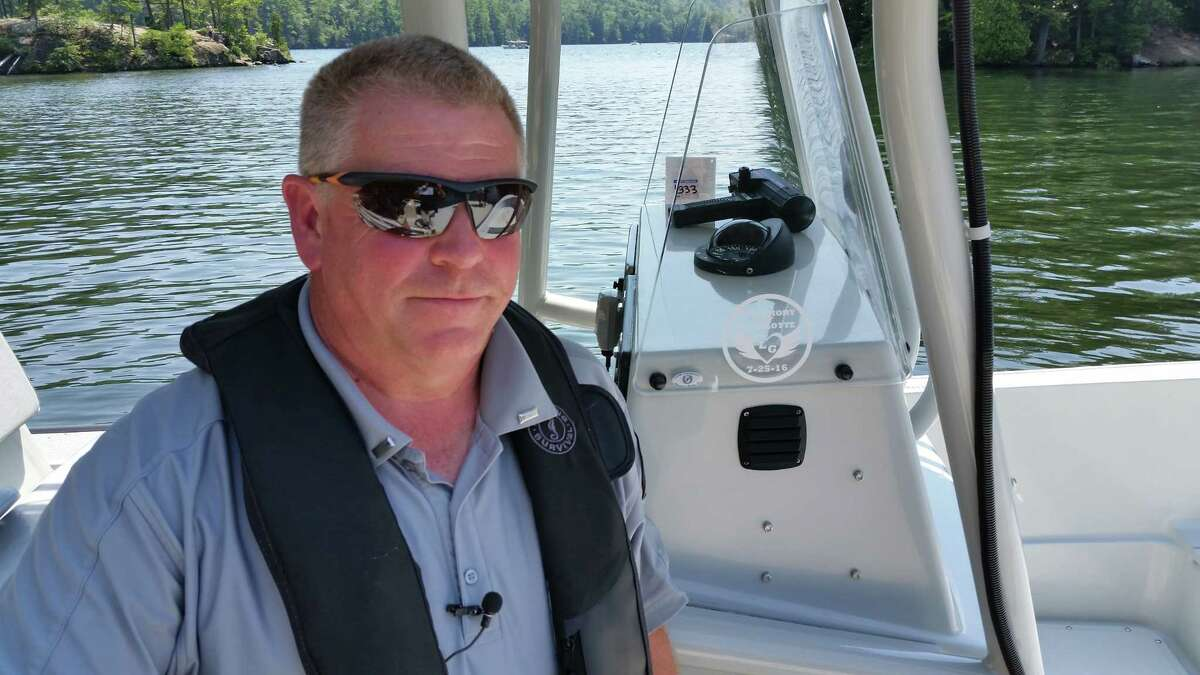 Joe Johns, law enforcement director for Lake George Park Commission, and dozens of other officials mounted a land, air and waterborne effort all around Lake George on Monday, July 31, 2017, to make sure the now-infamous Log Bay Day would not be revived by diehard fans a year after a reveler killed a young girl in a boating collision.
