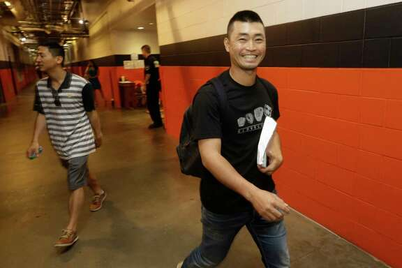 Norichika Aoki leaves from the players' clubhouse at Minute Maid Park, 501 Crawford, after being traded Monday, July 31, 2017, in Houston. The Houston Astros acquired veteran lefthander Francisco Liriano from the Toronto Blue Jays for outfielder Nori Aoki and minor league outfielder Teoscar Hernandez on Monday.