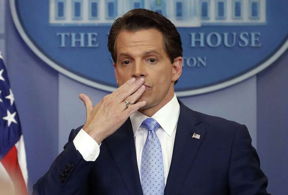 Former White House communications director Anthony Scaramucci, right, blowing a kiss after answering questions during the press briefing in the Brady Press Briefing room of the White House in Washington last month. Photo: Pablo Martinez Monsivais / Associated Press / Copyright 2017 The Associated Press. All rights reserved.
