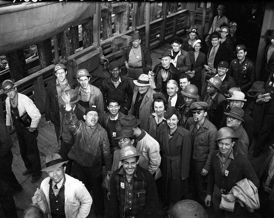 Workers arriving by ferry will be building ships at Marinships Photo: Photographer Unknown, The Chronicle