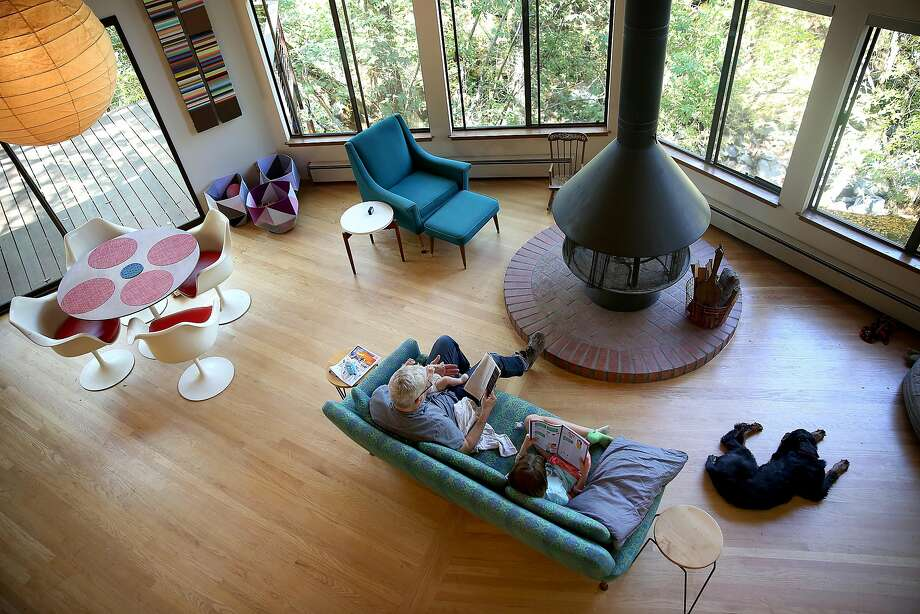The open living room and dining area of the octagon retreat. Photo: Liz Hafalia, The Chronicle