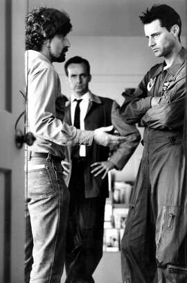 """Sam Shepard (r) and Phillp Kaufman on the set of """"The Right Stuff  Handout"""