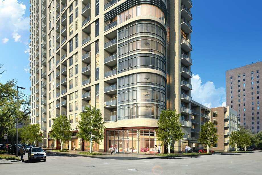 A rendering of Camden Property Trust's downtown residential tower late this year. The project had previously been delayed as the market slumped. Photo: Ziegler Cooper