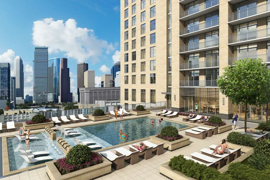 A rendering of Camden Property Trust's new downtown Houston apartment building. The $132 million tower was 16 percent leased as of May 6. Photo: Ziegler Cooper