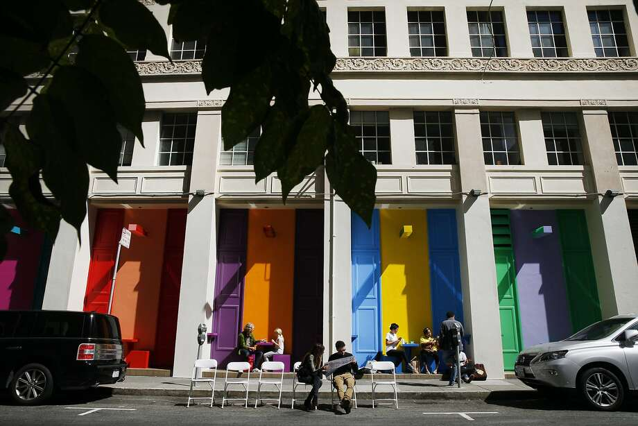 """People gather at the Sites Unseen installation, """"Local Color."""" Photo: Santiago Mejia, The Chronicle"""