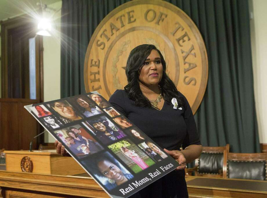 State Rep. Shawn Thierry, D-Houston, speaks about her House Bill 11, relating to pregnancy-related deaths and maternal morbidityat the Texas Capitol in Austin. The poster is photos of mothers who have died during child birth. Thierry read the names of mothers who had died as she dedicated her bill to their memory. Photo: Stephen Spillman /For The San Antonio Express-News / stephenspillman@me.com Stephen Spillman