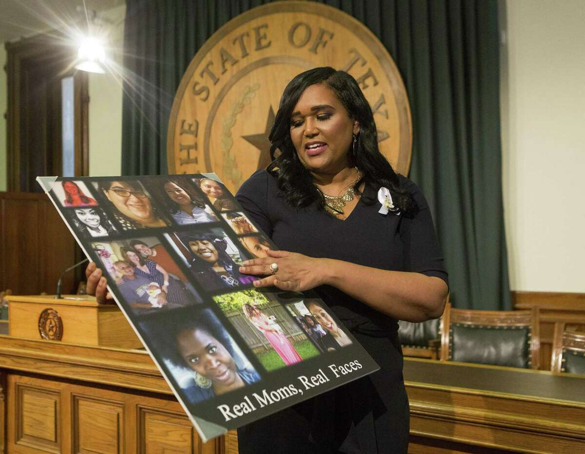 State Rep. Shawn Thierry, D-Houston, speaks about her House Bill 11, relating to pregnancy-related deaths and maternal morbidity, including postpartum depression, which passed during the special session in July. The poster displays photos of mothers who have died during childbirth.