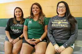 McCollum volleyball coach Rose Ann Martinez (center) with her nieces, Tanya Martinez,  coach at Southwest Legacy (right) and Valerie Vieyra,  coach at Southwest.