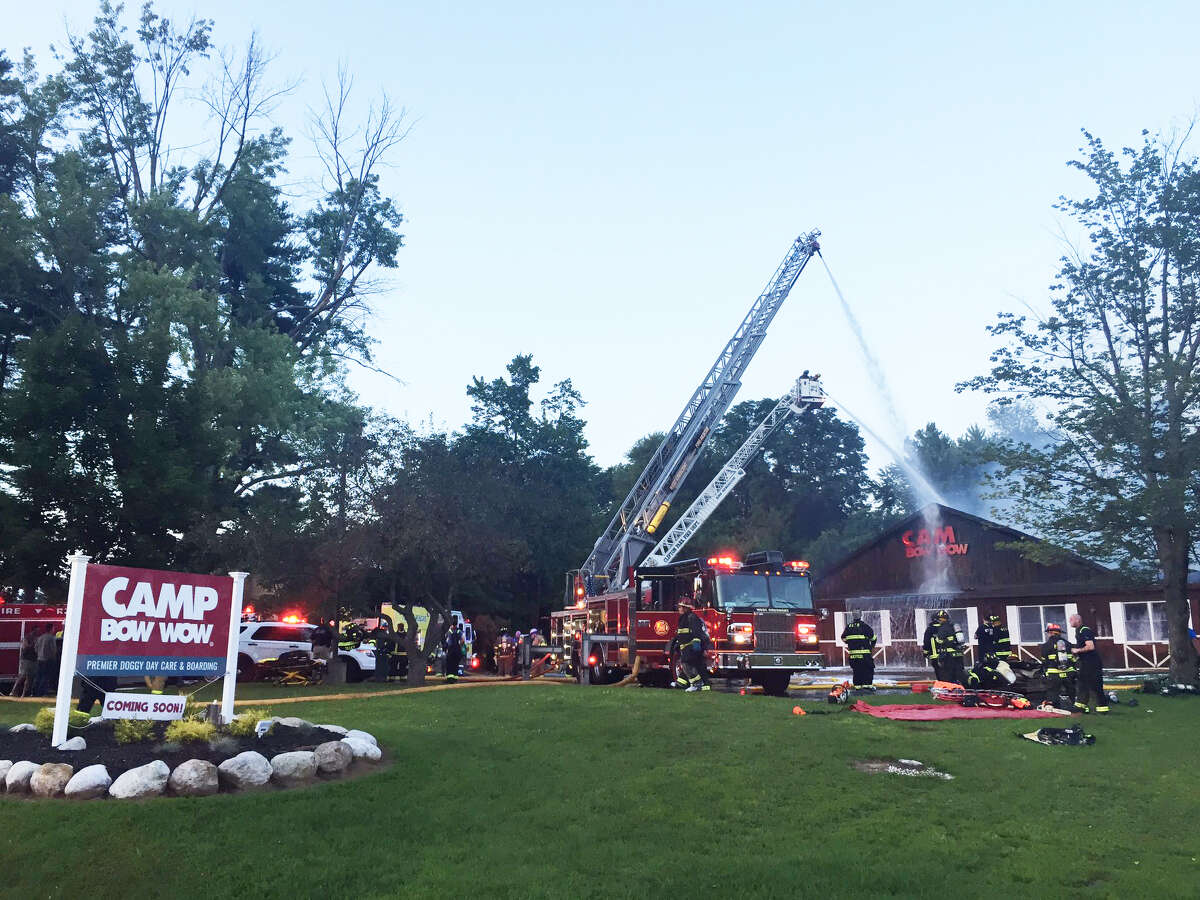 A fire caused severe damage to a dog day care Camp Bow Wow in Clifton Park Monday night, July 31, 2017. (Amanda Fries / Times Union)