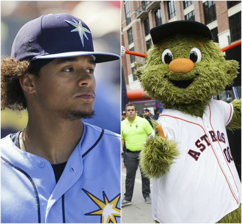 """PHOTOS: A look at Orbit messing with visiting players at Minute Maid ParkTampa Bay Rays starting pitcher delivered a """"Declaration of Unfriendliness"""" to the Astros mascot Orbit before Monday's game at Minute Maid Park.Browse through the photos to see Orbit messing with visiting players at Minute Maid Park. Photo: Houston Chronicle"""