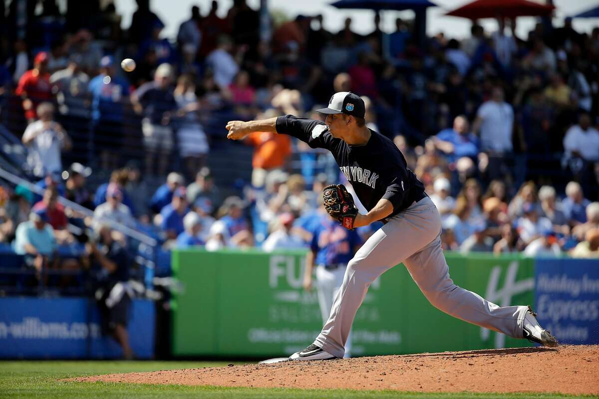 New York Yankees pitcher James Kaprielian throws during the fifth inning of an exhibition spring training baseball game against the New York Mets Wednesday, March 9, 2016, in Port St. Lucie, Fla. (AP Photo/Jeff Roberson)