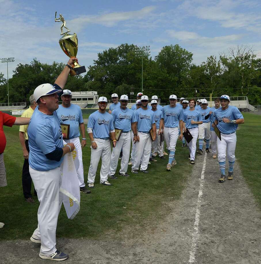Stamford celebrates winning the Senior American Legion Baseball championship series against West Hartford at Palmer Field on Saturday, July 29, 2017 in Middletown, Connecticut. Stamford defeated West Hartford 3-0. Photo: Matthew Brown / Hearst Connecticut Media / Stamford Advocate