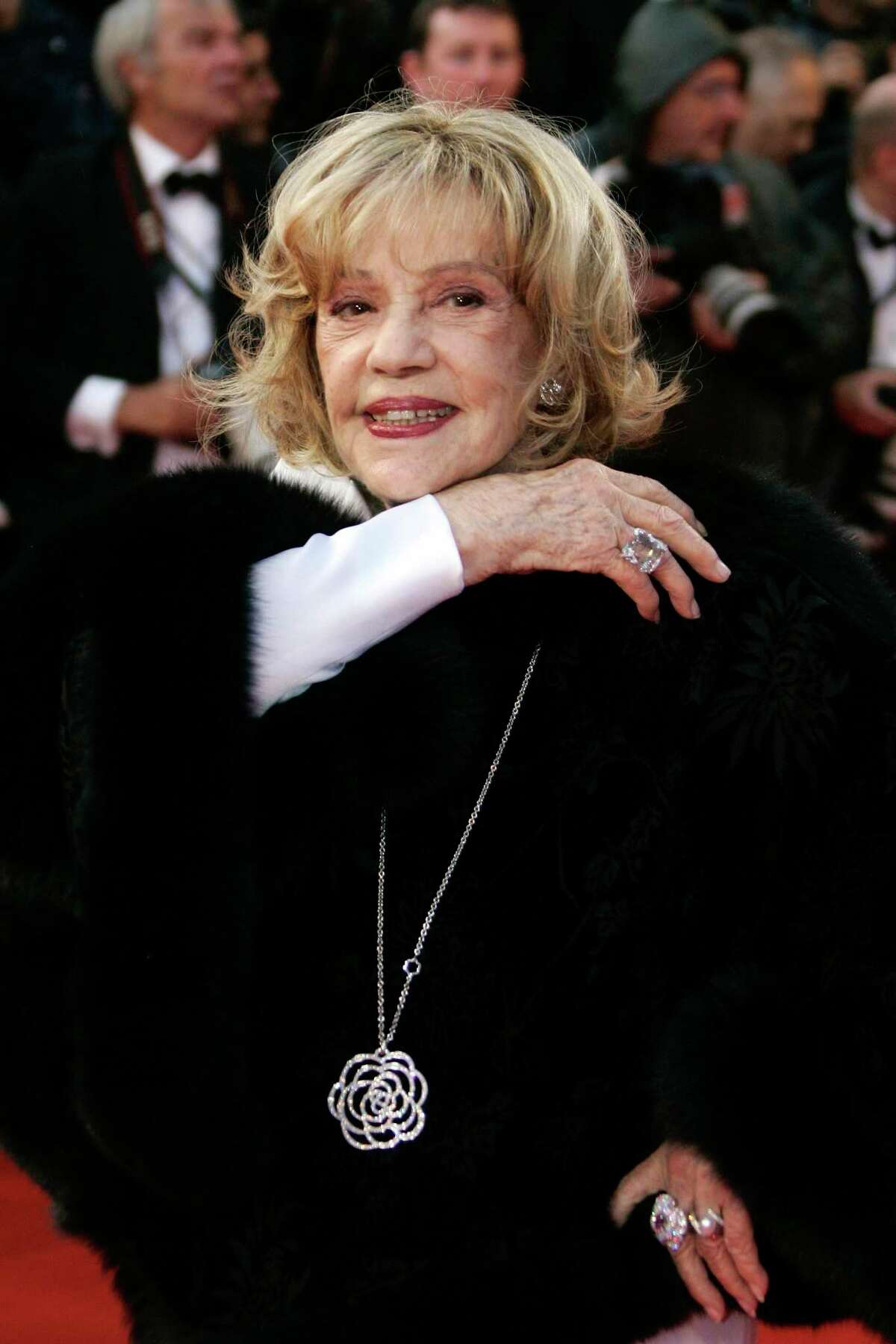 FILE - In this Saturday, May 17, 2008 file photo French actress Jeanne Moreau arrives to the premiere of the film