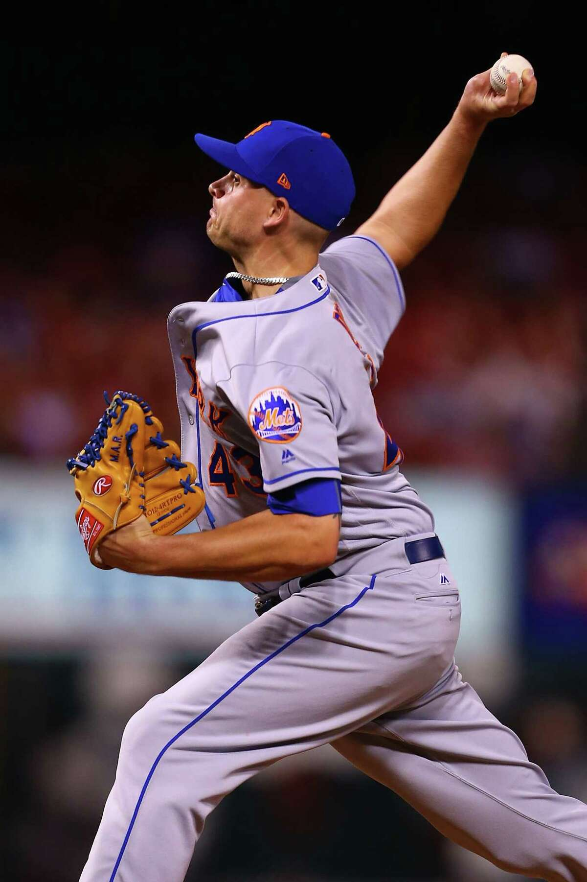 ST. LOUIS, MO - JULY 7: Addison Reed #43 of the New York Mets delivers a pitch against the St. Louis Cardinals in the ninth inning at Busch Stadium on July 7, 2017 in St. Louis, Missouri. (Photo by Dilip Vishwanat/Getty Images) ORG XMIT: 700011552