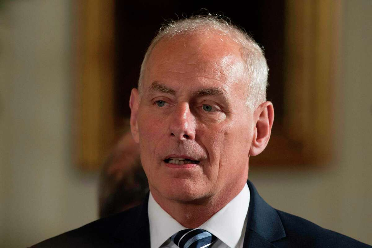 Newly sworn-in White House Chief of Staff John Kelly look on during a Medal of Honor ceremony at the White House in Washington, DC, on July 31, 2017. / AFP PHOTO / JIM WATSONJIM WATSON/AFP/Getty Images ORG XMIT: President
