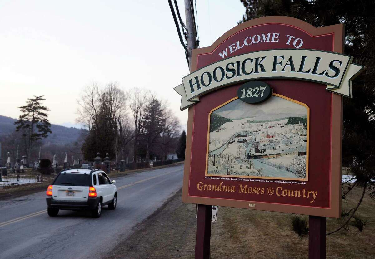 Village of Hoosick Falls welcome sign on Thursday, Feb. 23, 2017, (Hans Pennink / Special to the Times Union)