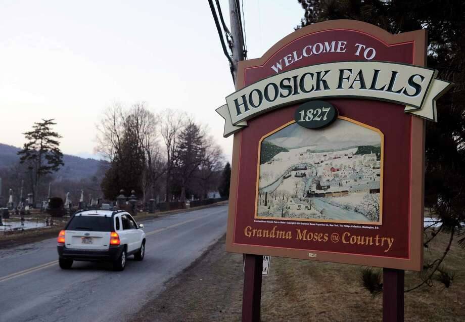 Village of Hoosick Falls welcome sign on Thursday, Feb. 23, 2017, (Hans Pennink / Special to the Times Union) Photo: Hans Pennink / Hans Pennink