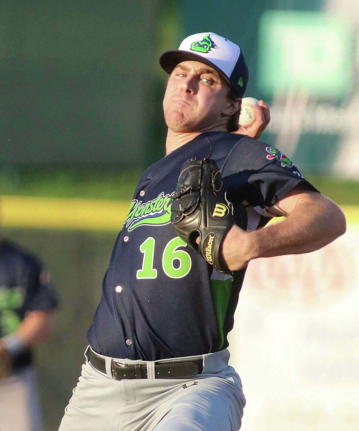 Vermont Lake Monster pitcher Wyatt Marks pitches during during the game versus the Tri-City ValleyCats Monday, July 31, 2017 at Joe Bruno Stadium in Troy. (Ed Burke photo - Special to The Times Union)