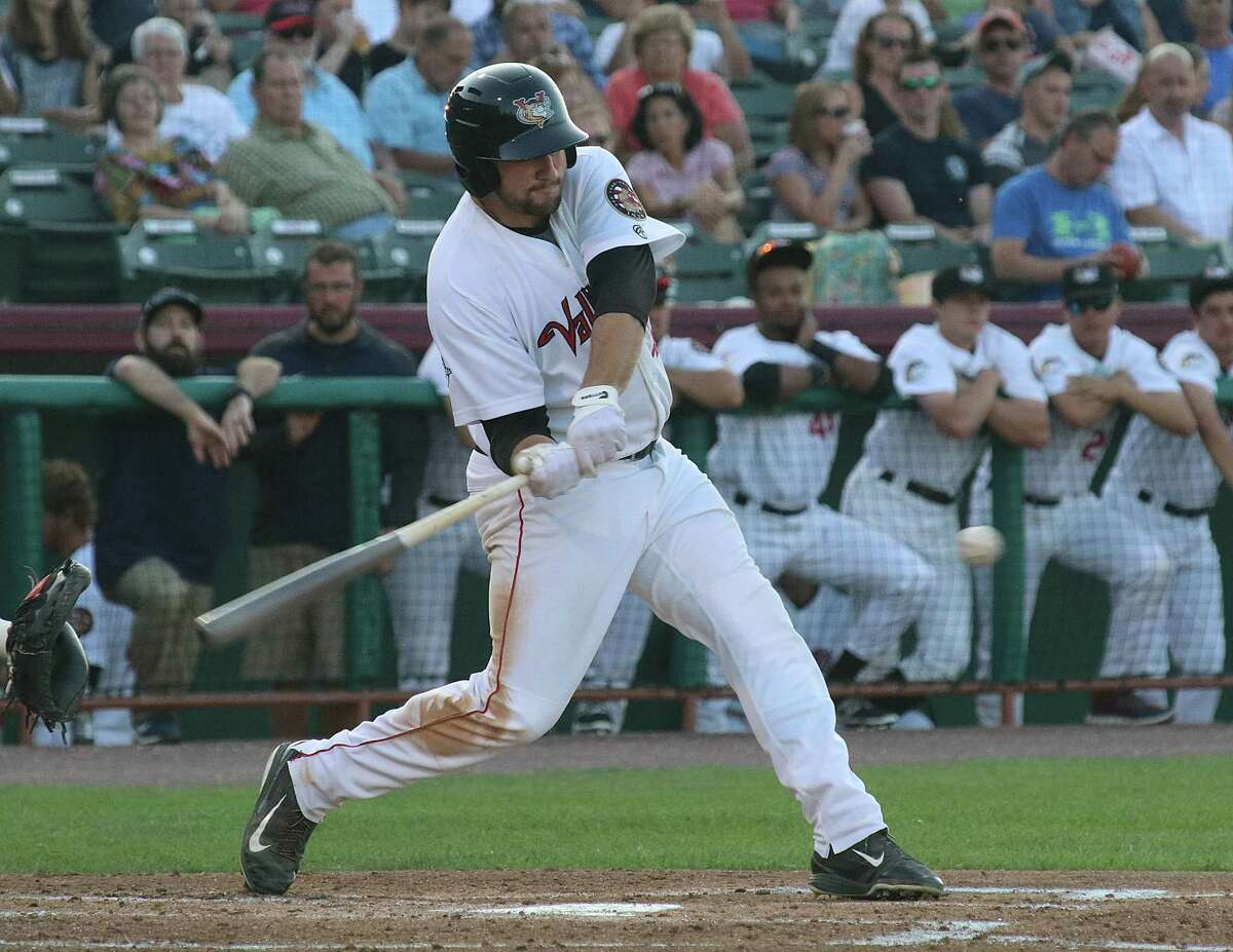 Tri-City ValleyCats Jake Adams swings into a pitch during the game versus the Vermont Lake Monsters Monday, July 31, 2017 at Joe Bruno Stadium in Troy. (Ed Burke photo - Special to The Times Union)