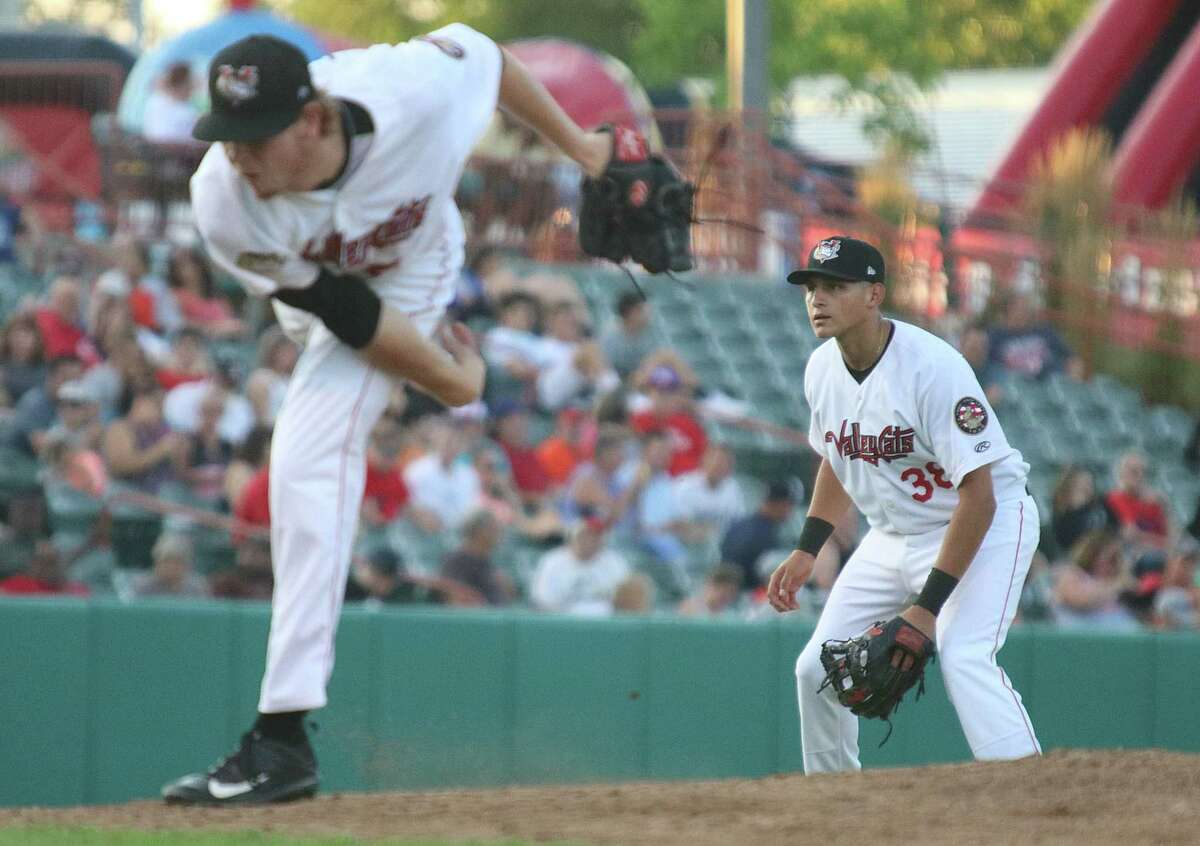 Tri-City ValleyCats Adrian Tovalin covers 3rd base as Tyler Ivey throws during the game versus the Vermont Lake Monsters Monday, July 31, 2017 at Joe Bruno Stadium in Troy. (Ed Burke photo - Special to The Times Union)