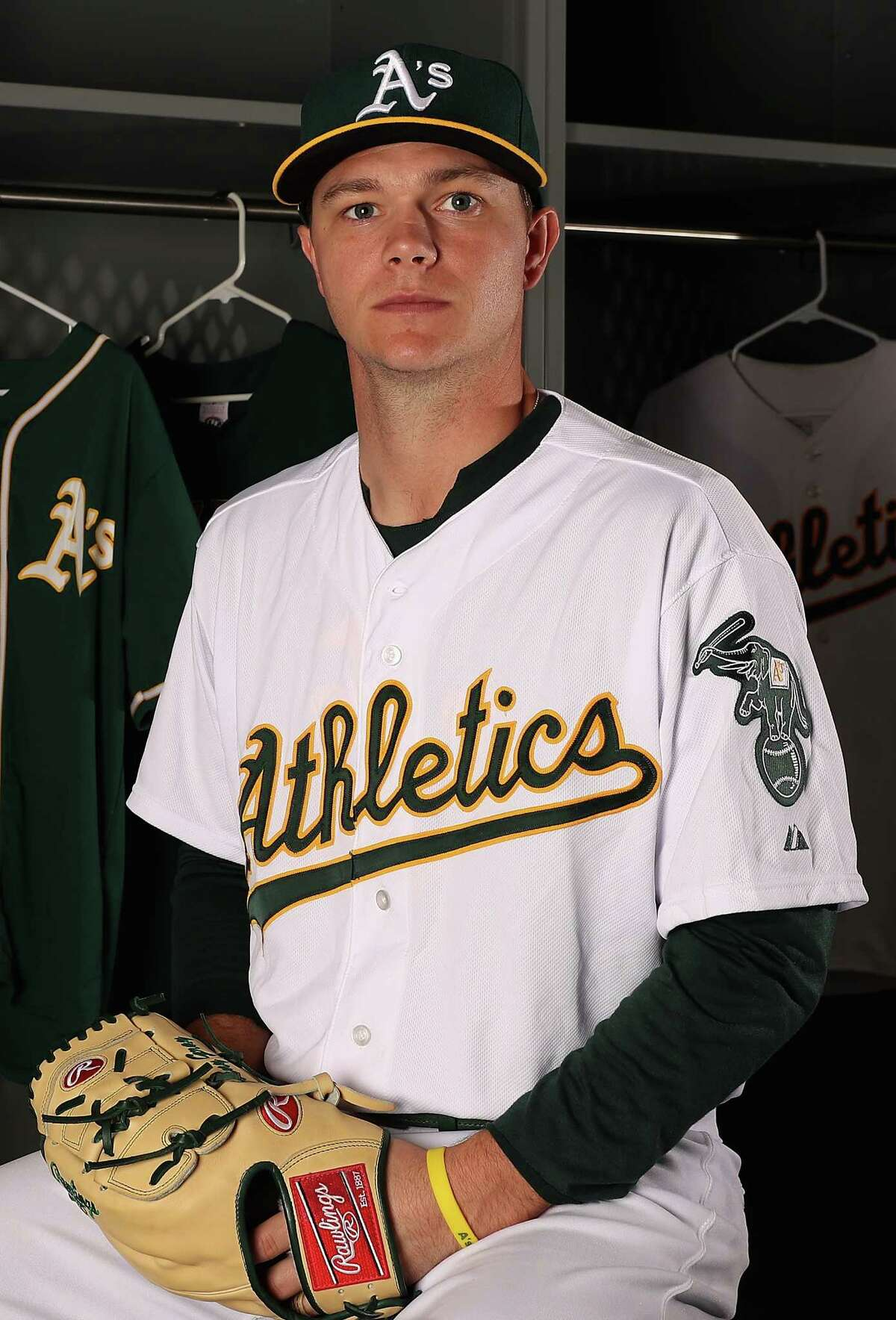 MESA, AZ - FEBRUARY 22: Pitcher Sonny Gray #54 of the Oakland Athletics poses for a portrait during photo day at HoHoKam Stadium on February 22, 2017 in Mesa, Arizona. (Photo by Christian Petersen/Getty Images) ORG XMIT: 694709789
