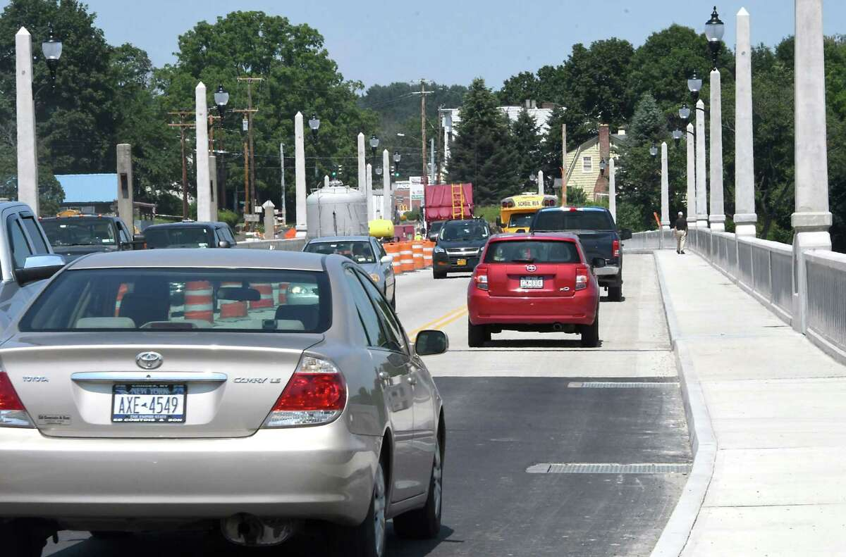 Cars cross the newly opened bridge connecting Cohoes and Waterford on Monday, July 31, 2017 in Cohoes, N.Y. (Lori Van Buren / Times Union)