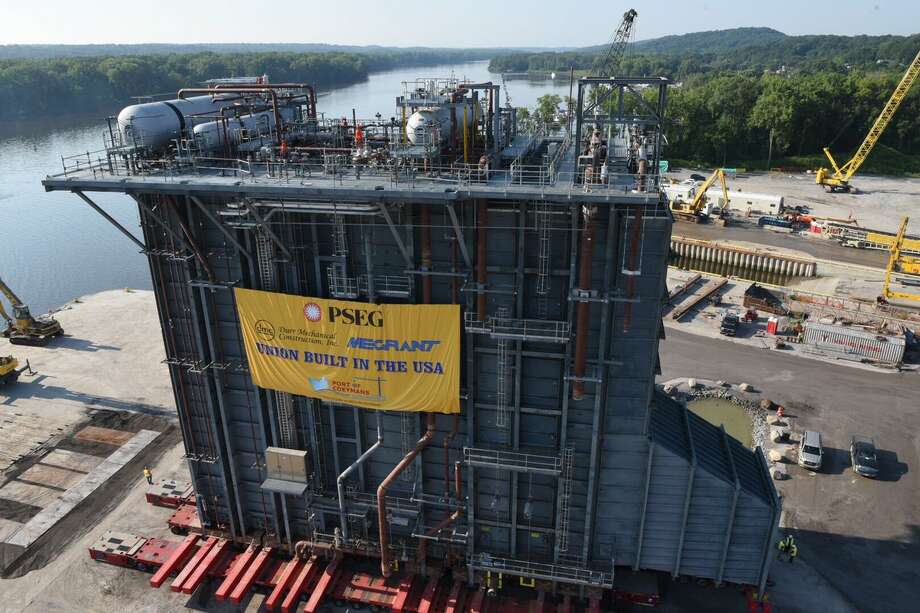 This giant heat recovery steam generator built at the Port of Coeymans is to be shipped down the Hudson on Aug. 7, 2017. Photo: Will Waldron / Times Union