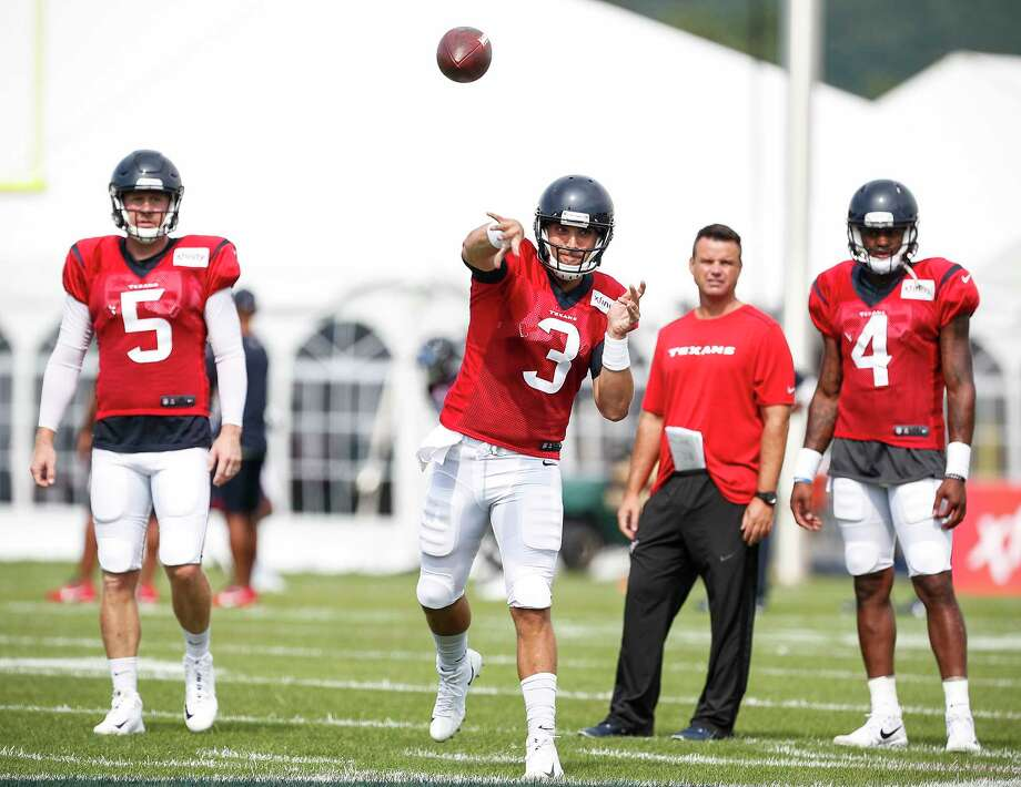 Tom Savage (3) will start at QB for the Texans in their preseason opener on Wednesday. Brandon Weeden (5) and Deshaun Watson (4) also will play against the Panthers. Photo: Brett Coomer, Houston Chronicle / © 2017 Houston Chronicle}