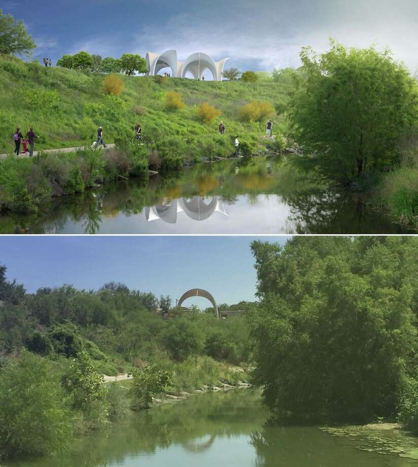 The top photo shows a rendering of what Confluence Park will look like when construction is finished, and the bottom photo shows park of a pavilion put up in July 2017. Photo: Courtesy/San Antonio River Foundation