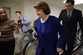 WASHINGTON, DC - JULY 31:  Sen. Dianne Feinstein (D-CA) is pursued by reporters as she heads to the U.S. Capitol for a vote July 31, 2017 in Washington, DC. Senate GOP leadership was unable to repeal and replace the Affordable Care Act, or Obamacare, last week and it remains unclear what they will be able to accomplish before an upcoming recess.  (Photo by Chip Somodevilla/Getty Images)