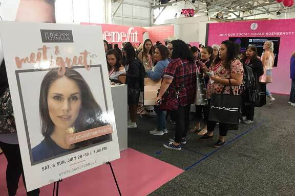 A crowd gathers at the Generation Beauty makeup expo in San Francisco.