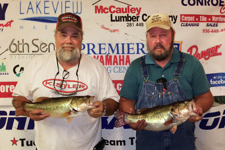 Eddie Moore and Herman Snoe came in second place in the CONROEBASS Tuesday Night Tournament with a stringer weight of 10.76 pounds. Photo: Conroe Bass
