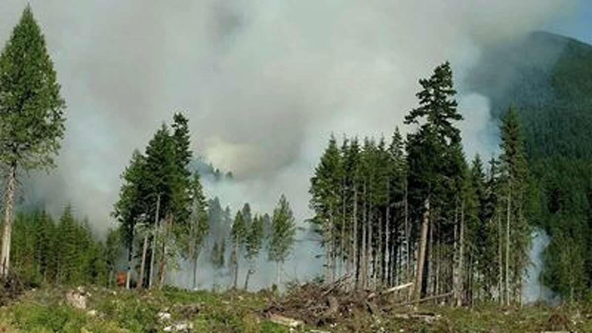 This photo from early Tuesday morning shows one view of the Suiattle Fire near Darrington.
