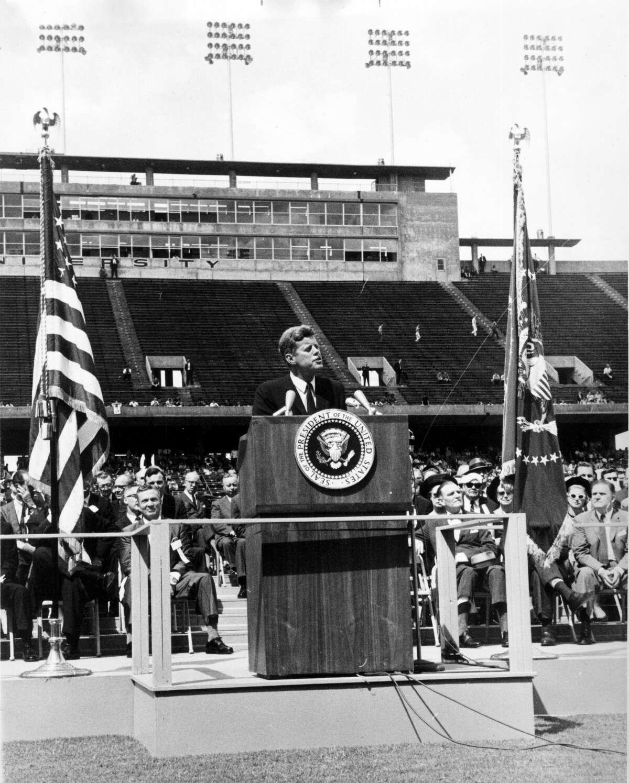 President John F. Kennedy speaks at Rice Stadium in 1962.