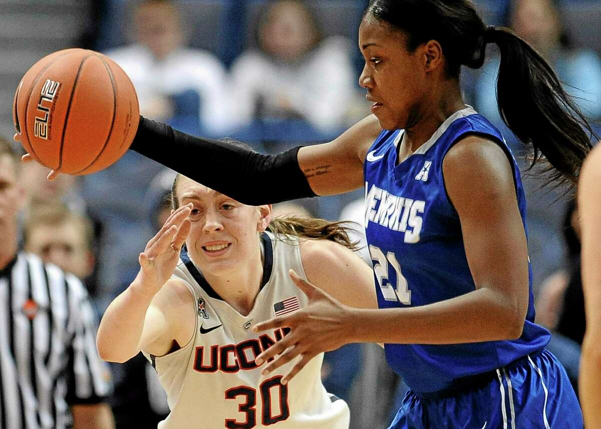 Memphis' Asianna Fuqua-Bey, right, steals the ball from Connecticut's Breanna Stewart, during Wednesday's game.