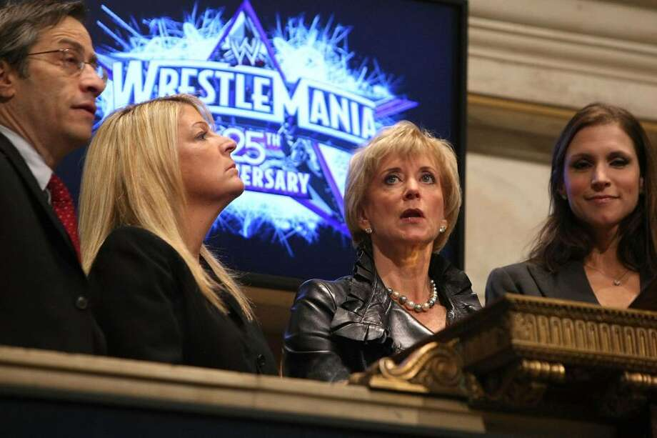(L-R) EVP and COO, U.S. Products, NYSE Group, Lawrence Leibowitz, WWE Marketing EVP Michelle Wilson, WWE CEO Linda McMahon and WWE EVP of Creative Development and Operations, Stephanie McMahon Levesque ring the opening bell at the New York Stock Exchange on March 27, 2009 in New York City.  (Photo by Michael Loccisano/Getty Images) Photo: Michael Loccisano, Getty Images / 2009 Getty Images