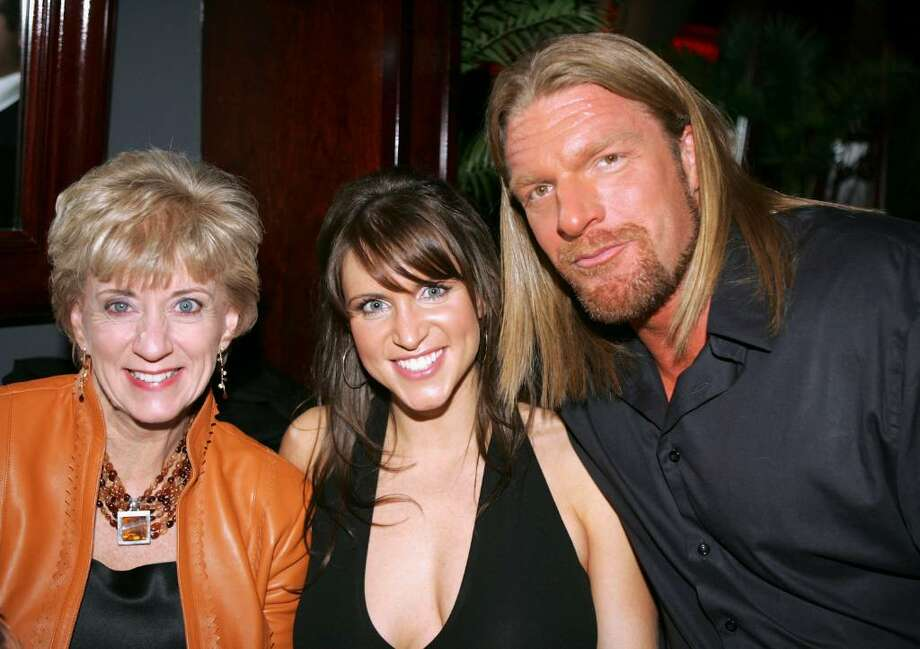 "Linda McMahon, Stephanie Mcmahon and Triple H at the premiere of ""Blade Trinity"" after party held at the Level 7 club Hollywood and Highland on December 7, 2004 in Hollywood, California. (Photo by Frazer Harrison/Getty Images) Photo: Frazer Harrison, Getty Images / 2004 Getty Images"