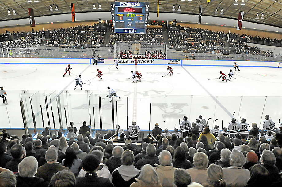 Yale shut out Harvard 4-0 on Friday night at Ingalls Rink in the first game of an ECAC Hockey first-round best-of-3 series. Photo: Mara Lavitt — Register