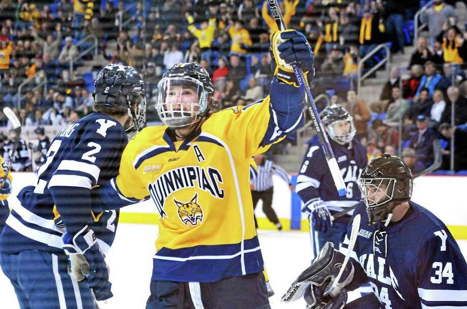 Quinnipiac's Connor Jones celebrates his second-period goal that gave the Bobcats a 3-0 lead over Yale during an ECAC Hockey quarterfinal game on Friday night at High Point Solutions Arena in Hamden. Quinnipiac won 6-2 in Game 1 of the best-of-3 series. Photo: Peter Casolino — Register