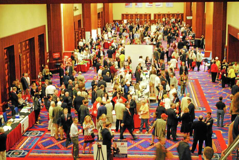 People gather for the Connecticut Republican Convention at Mohegan Sun in Uncasville on May 16. Photo: (Jennifer Swift — New Haven Register)