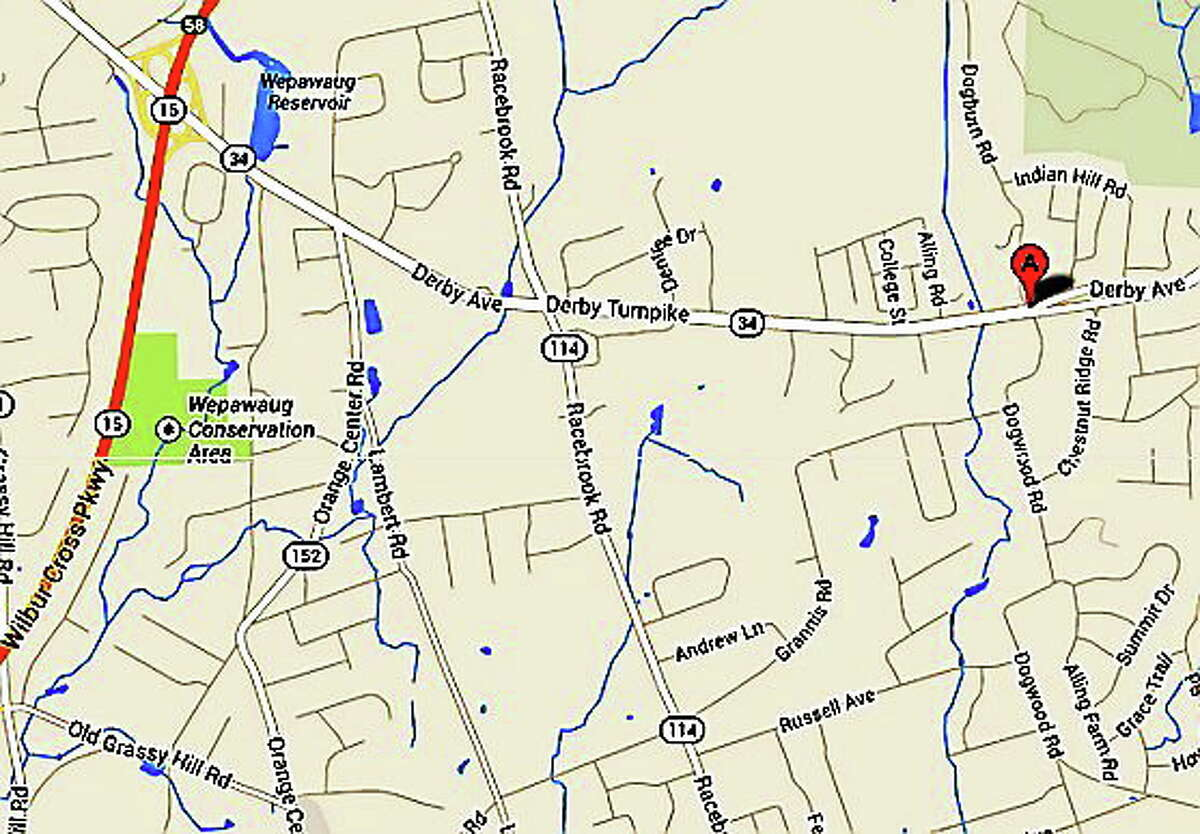 A map of the area where a serious crash reportedly closed Route 34 in Orange for hours Monday morning.