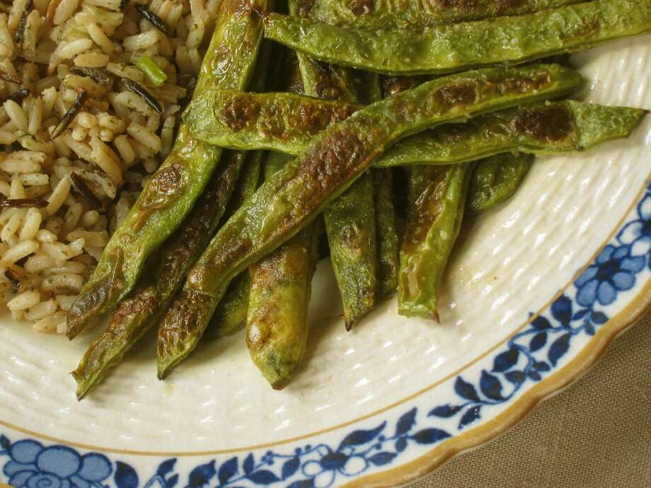 Roast Romano or other green beans until they have browned areas. Photo: Pam Peirce