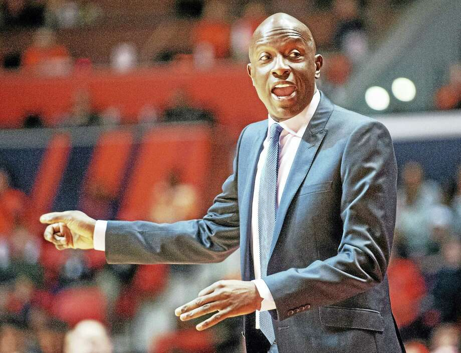 Yale head coach James Jones calls out from the sideline during the second half of an NCAA college basketball game against Illinois, Wednesday, Dec. 9, 2015 in Champaign, Ill. (AP Photo/Heather Coit) Photo: AP / FR3604 AP