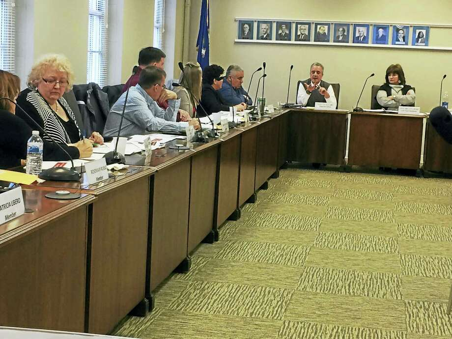 West Haven Superintendent of Schools Neil Cavallaro, center, discusses the school budget with the Board of Education. Photo: Mark Zaretsky — New Haven Register